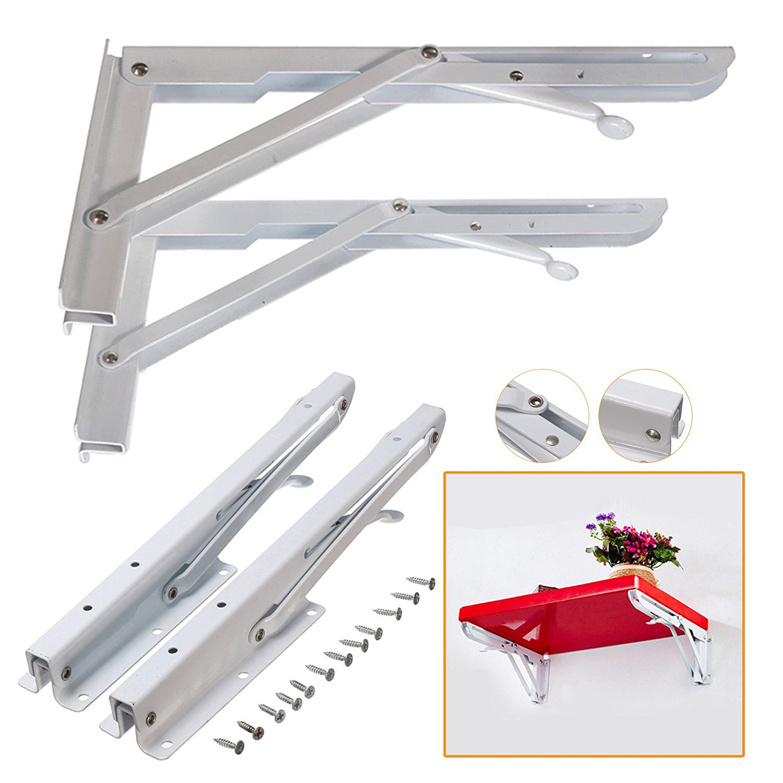 White Metal Triangle Wall Shelf Bracket Heavy Duty Book Holder Support Home Tool