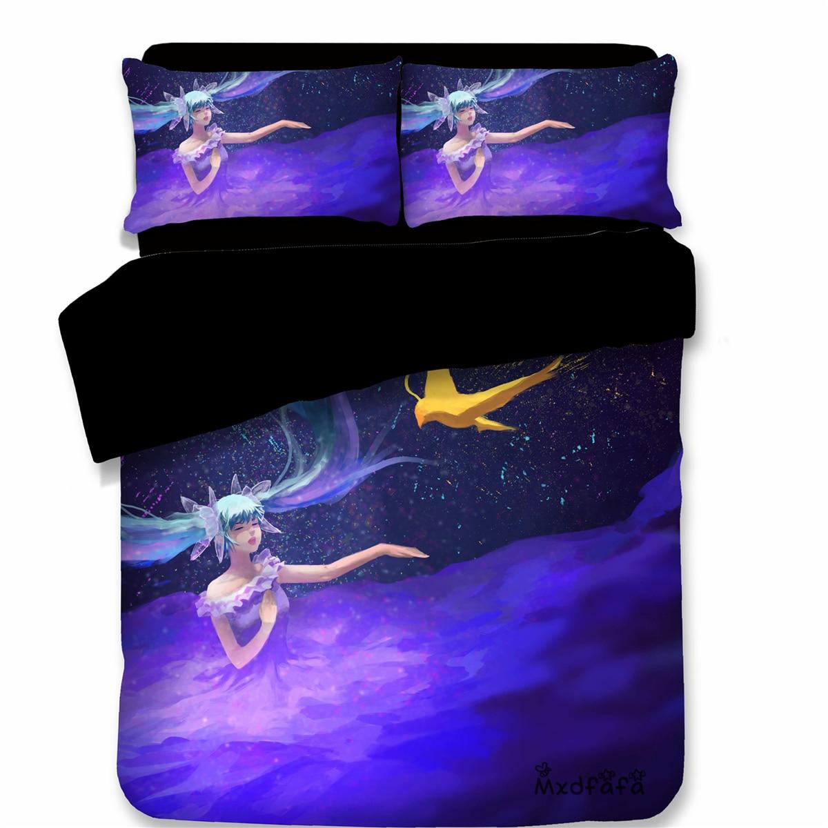 Mxdfafa Anime Snow Miku Printed Duvet Cover Set 3D Bedding Set Luxury Comforter Bedding Set with 1 Duvet Cover and 2 PillowcasesMxdfafa Anime Snow Miku Printed Duvet Cover Set 3D Bedding Set Luxury Comforter Bedding Set with 1 Duvet Cover and 2 Pillowcases