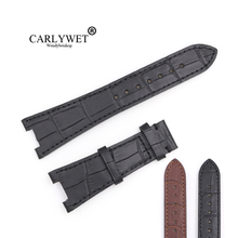 CARLYWET 25mm Wholesale Black Brown Real Leather Handmade Replacement Crocodile Grain Wrist Watch Band Strap For Patek Philippe недорого