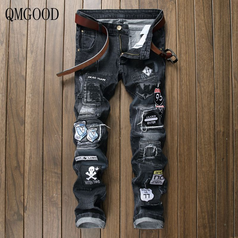 QMGOOD 2017 New Straight Fashion Men Slim Biker Jeans High Quality Ripped Denim Fabric Men Skinny Slim Locomotive Trousers 34 36 2017 fashion patch jeans men slim straight denim jeans ripped trousers new famous brand biker jeans logo mens zipper jeans 604