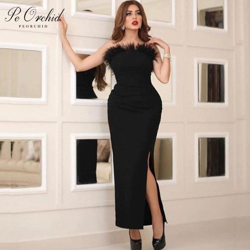 Peorchidée 2019 plumes noires robe de bal courte soirée robes de soirée femmes thé longueur Vestido Curto Para Festa robe pour la nuit de bal