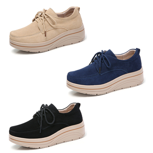 Image 2 - 2019 Spring Women Platform Sneakers Shoes Leather Suede Ladies Lace Up Chaussure Femme Creepers Moccasins Flats Shoes Woman 3929