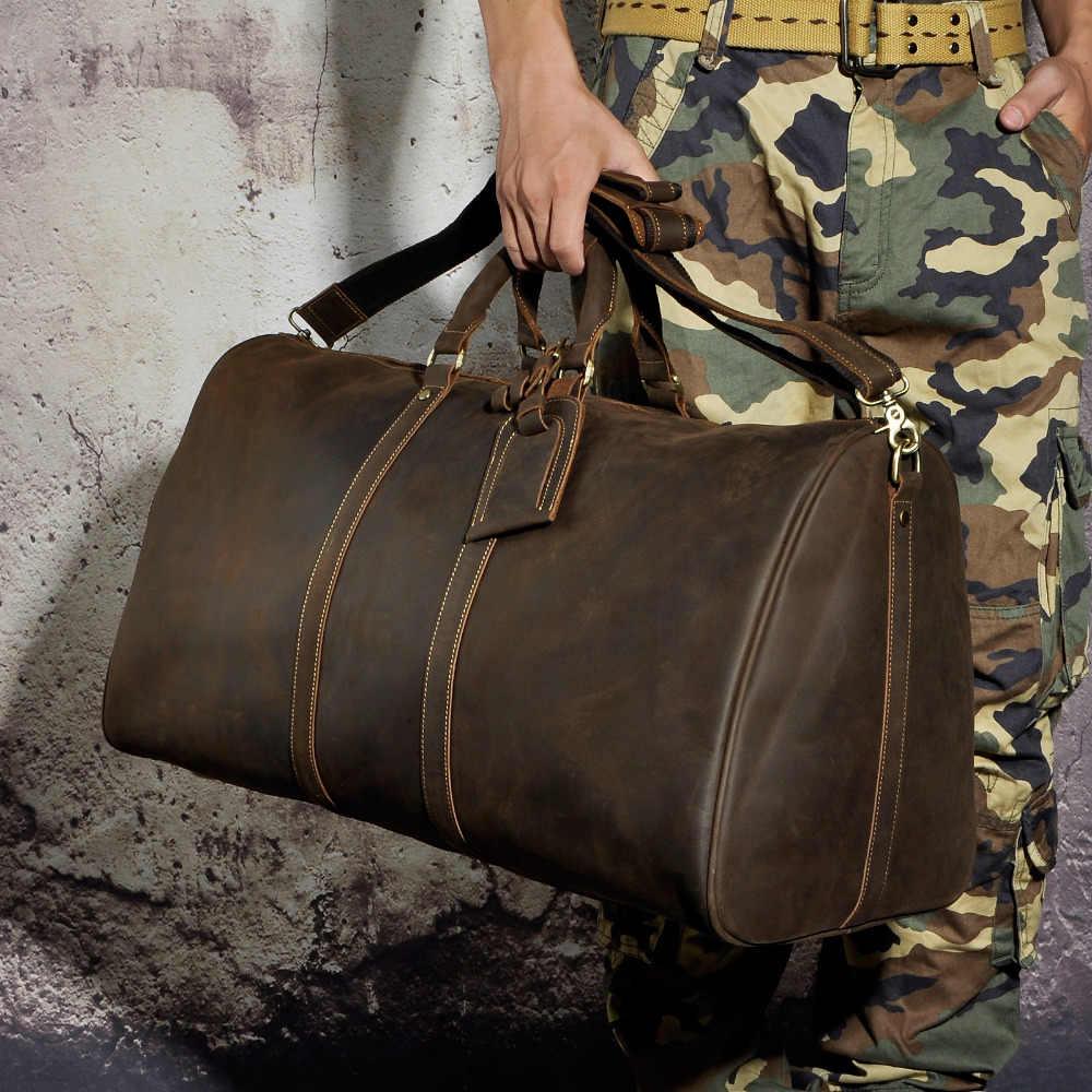 Оригинальный Crazy Horse кожаный мужской сверхмощный винтажный дизайн сумки вещевой Чемодан Сумка Модный Дорожный чемодан сумка 3264d