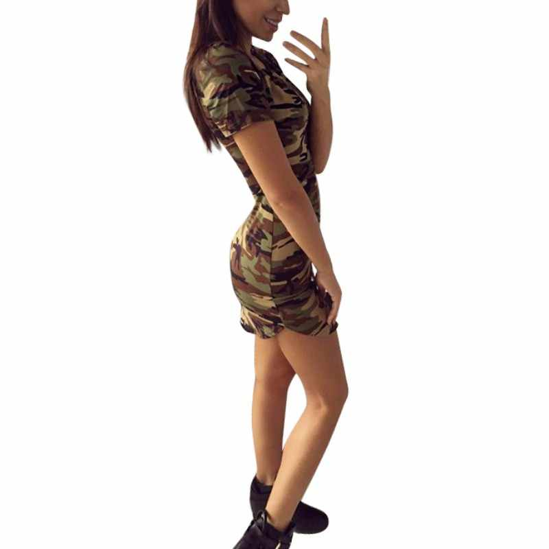 여름 드레스 2018 여성 섹시한 bodycon 미니 드레스 여성 육군 녹색 위장 인쇄 드레스 파티 클럽 vestido