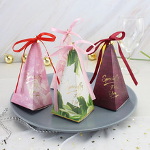 New 10pcs 6*6*14cm creative candy box european-style cone sugar box wedding forest is personalized candy bag wedding supplies