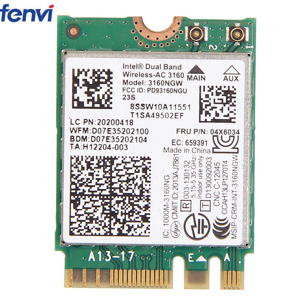 Wireless Network Card Wifi Adapter With Intel AC 3160 NGW Support 802.11a/b/g/n BT 4.0 Dual Band Special for Lenovo 04X6034(China)