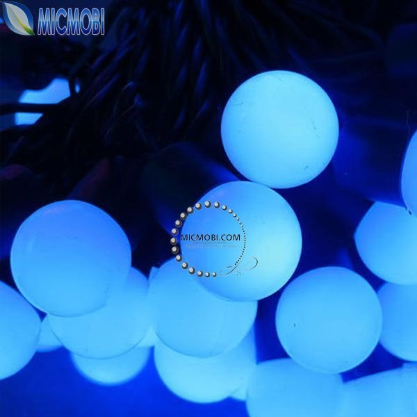 Blue LED Ball Lights 220V 5M 50 led Continuous night light Wedding Holiday Christmas String Fairy lamps Outdoor Free ship FI-34