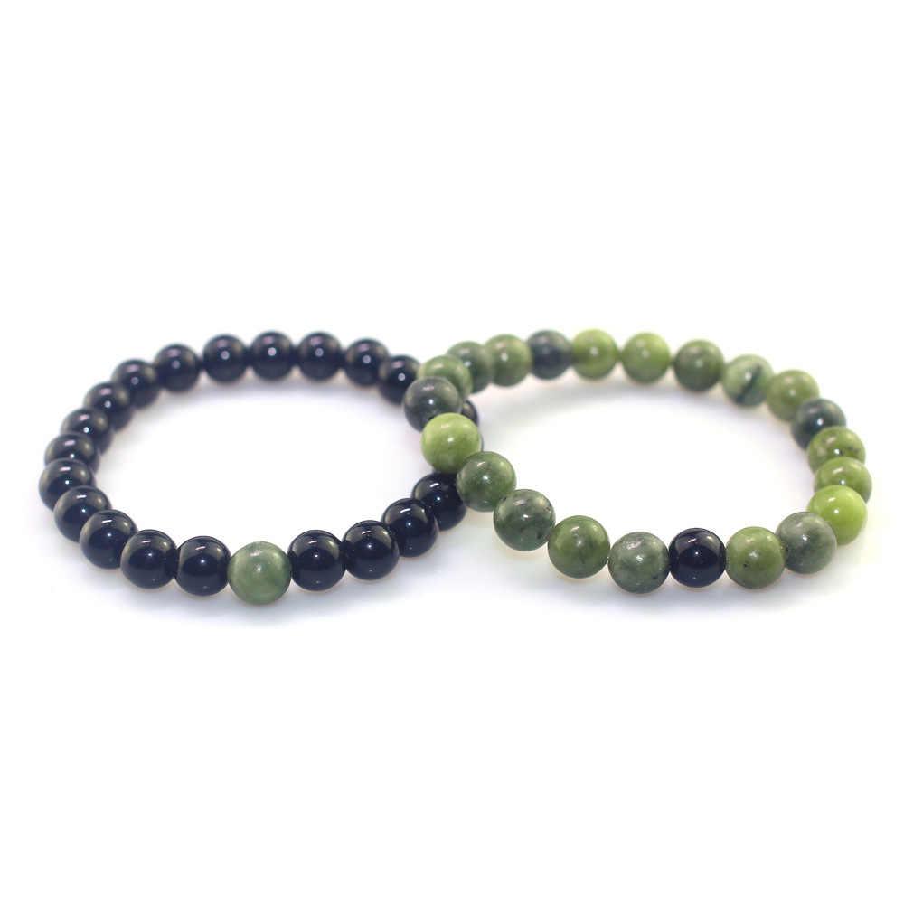 สีเขียว Peridot สีดำหินสร้อยข้อมือหินธรรมชาติ 8 มม. วงกลมเดี่ยวแฟชั่นผู้ชายผู้หญิงคู่ลูกปัดสร้อยข้อมือหินธรรมชาติ