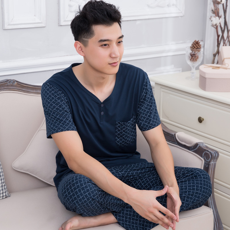 Male Sleepwear Summer Short Sleeve Pajama Set Cotton Clothing Pyjamas Men's Lounge Nightshirt Sleep Trousers