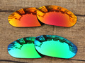 Fire Red & Emerald Green 2 Pairs Mirror Polarized Replacement Lenses For Monster Dog Sunglasses Frame 100% UVA & UVB Protection