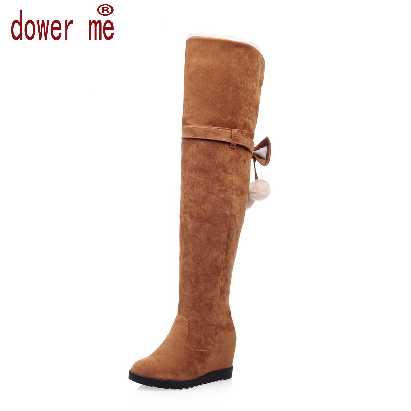 ФОТО Size 34-43 Women Boots Winter Autumn Fashion Flat Bottom Boots Shoes Over The Knee High Leg Suede Long Boots Brand Designer 67-3
