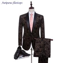 2021 2 Suits Printed Velvet Suits for Men Groom Tuxedos Groomsman Suit Custom Made Custom Made Wedding Suits (Jacket+pants)
