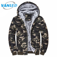 4XL Plus Size Sudaderas Hombre 2017 Marca Winter Thick Coats Outdwear Army Military Hoodies Camouflage Sweatshirt