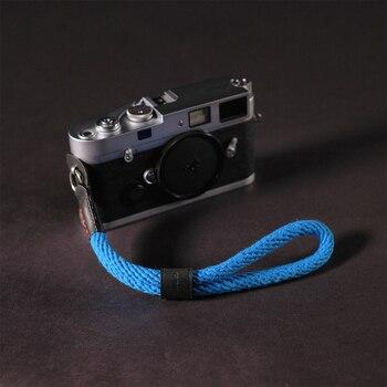 Cam-におけるws022牛革&綿テープカメラ手首ストラップレザーデジタル一眼レフ尖塔ラメラ手ベルト写真撮影アクセサリー10色