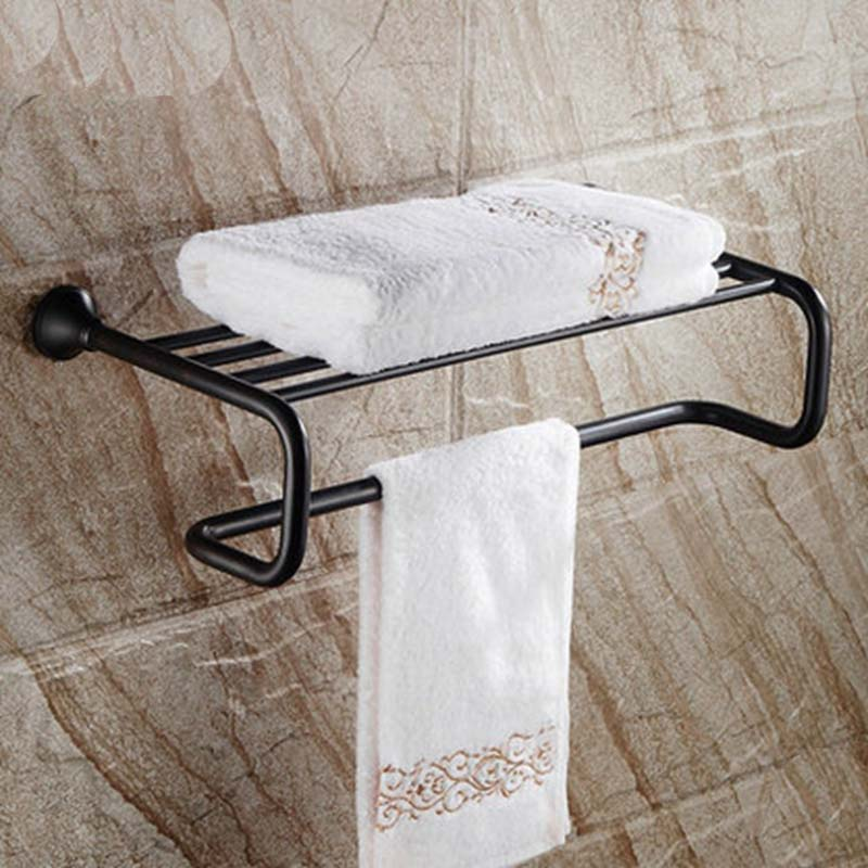 Oil Rubbed Bronze Wall Mounted Bathroom Towel Rack Holder Shelf Towel Bar Solid Brass classic black oil rubbed brass wall mounted bathroom towel rack shelf rails double bar wba120