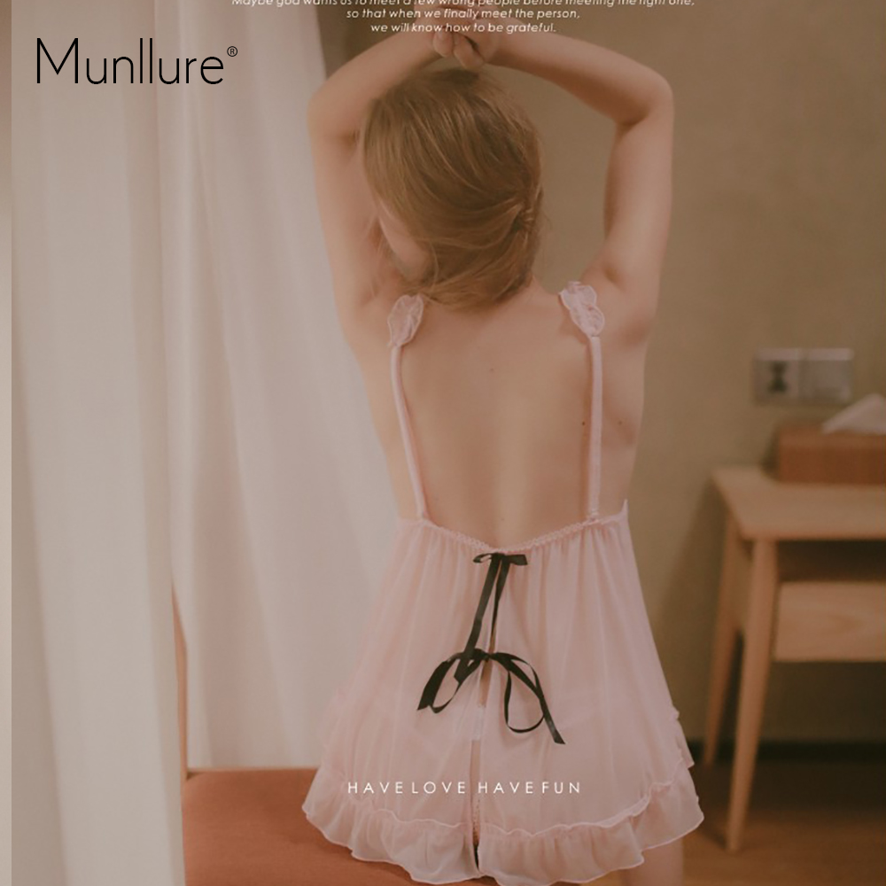 Munllure Pink black bow sexy hollowed nightdress Pyjamas in Pajama Sets from Underwear Sleepwears