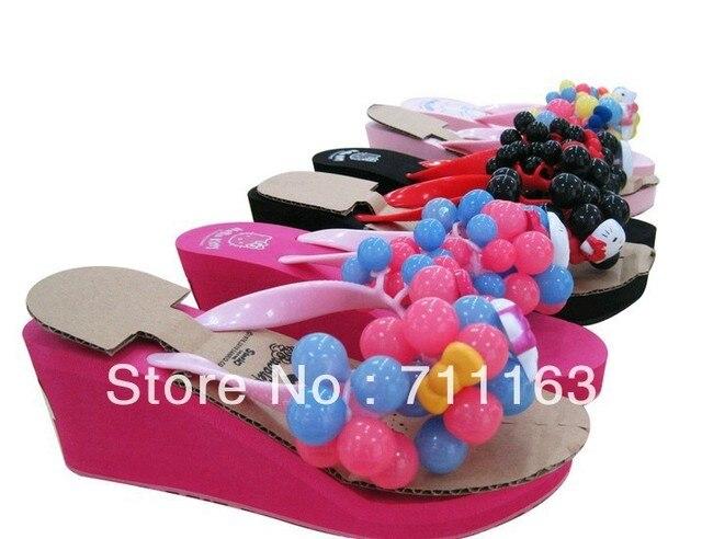 8fb02ed42 2013 New Hello Kitty Ladies Chic High Quality EVA Platforms Wedges Grape  Bubbles Sandals Flip flops US5-8 Free Shipping