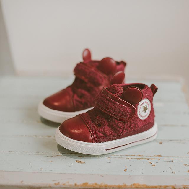 2016 Ovejas Invierno de Gasa Niñas Zapatos de Algodón Niños Coreanos del Bebé Caliente Lindo Orejas de Dibujos Animados Zapatos del Niño Del Bebé Botas para la nieve