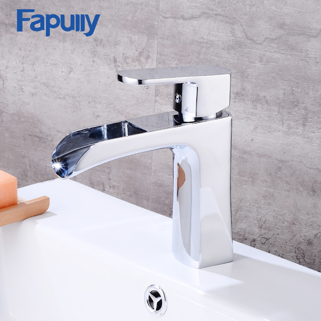 Fapully Waterfall Bathroom Faucet Single handle Basin Mixer Tap Bath ...