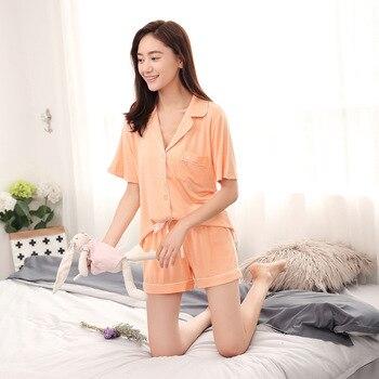 Modal Pijama Shorts Women Two Piece Short Pajama Set Pyjama Shorts Button Top and Womens Sleep Shorts Summer Sleepwear 4