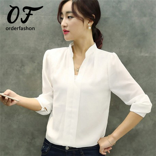 b622c0ab2e855 Blusa de las mujeres Femme V-cuello Sólido de Manga Larga Blusa Blanca de La