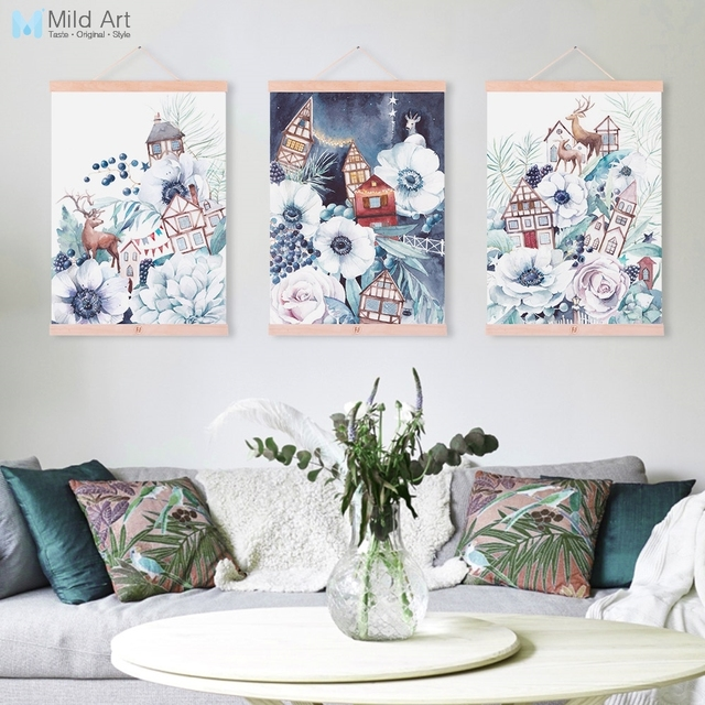 Watercolor Deer Flower Poster Fantasy Scroll Wall Art Picture Hanger Nordic Home Decorative Garden Wooden Framed