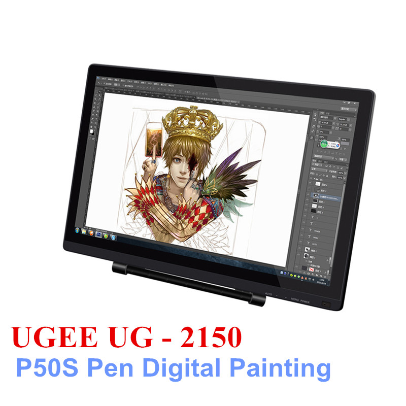 UGEE UG-2150 Professional 21.5 Inch IPS Screen P50S Pen Smart Drawing Tablet 5080LPI Resolution Digital Tablets For Painting ugee m708 digital tablet 10x6 inch drawing area graphics drawing tablet with rechargeable pen anti fouling glove
