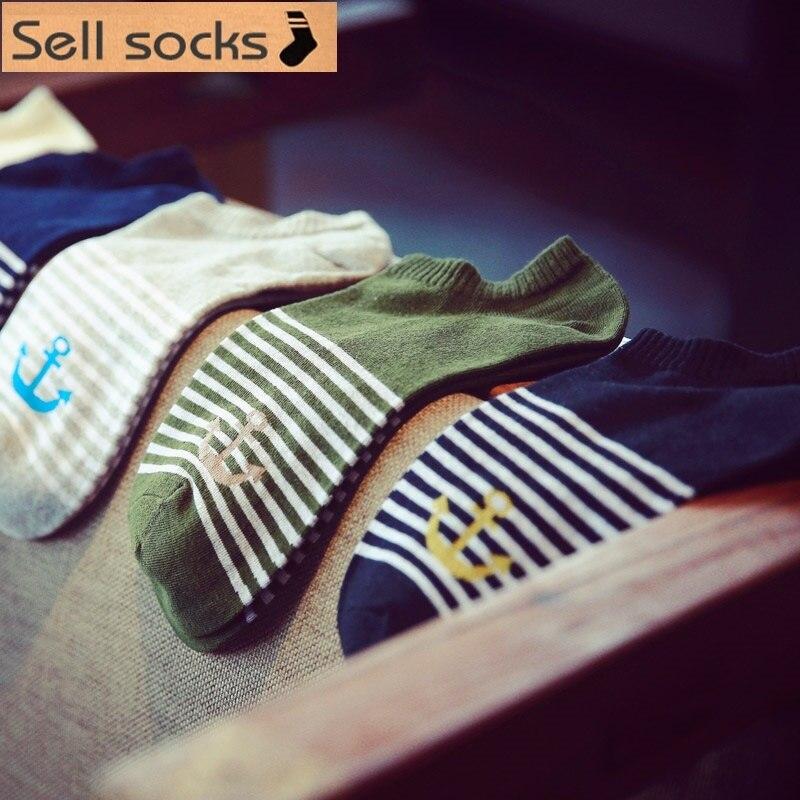 new summer Sailor anchor desgins Simple stripes man Casual ankle cotton socks men boat sock slippers harajuku EUR39-44