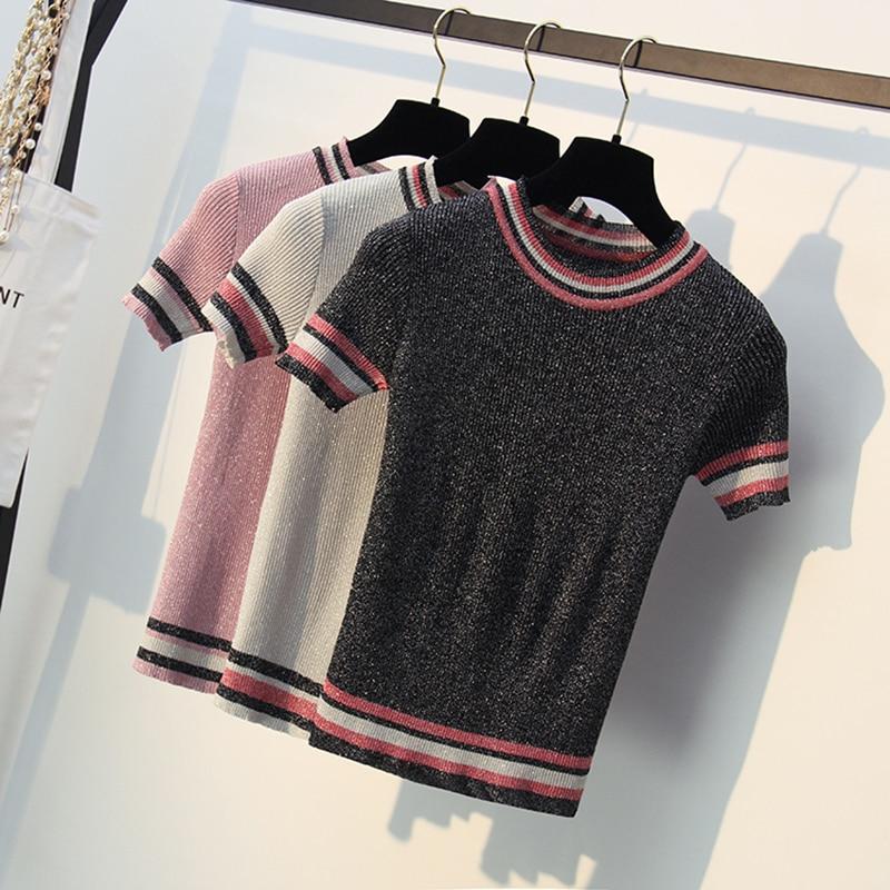 bling Glitter Knitted T Shirt Women for Summer Tshirt Breathable Short Sleeves Top High Elasticity Striped Female T-Shirt female