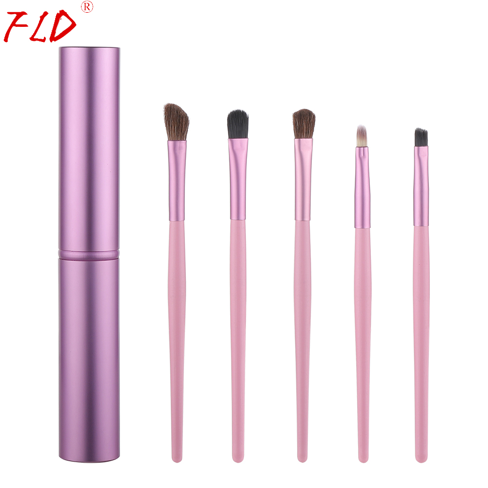 FLD 5Pcs Travel Makeup Brushset Portable Aluminum Tube Mini Eye Brush Eyeliner Eyeshadow Somked Make Up Brushes Set