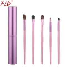 цены на FLD 5Pcs Travel Makeup Brushset Portable Aluminum Tube Mini Eye Brush Eyeliner Eyeshadow Somked Make Up Brushes Set  в интернет-магазинах