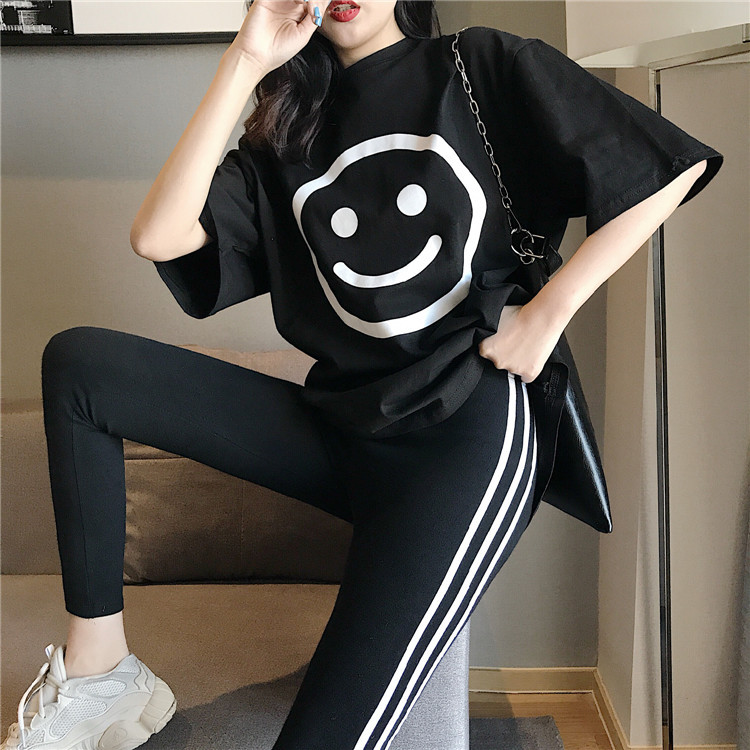 Slim sports and leisure suit female summer 2019 new fashion loose foreign short-sleeved T-shirt nine pants two sets jumpsuit