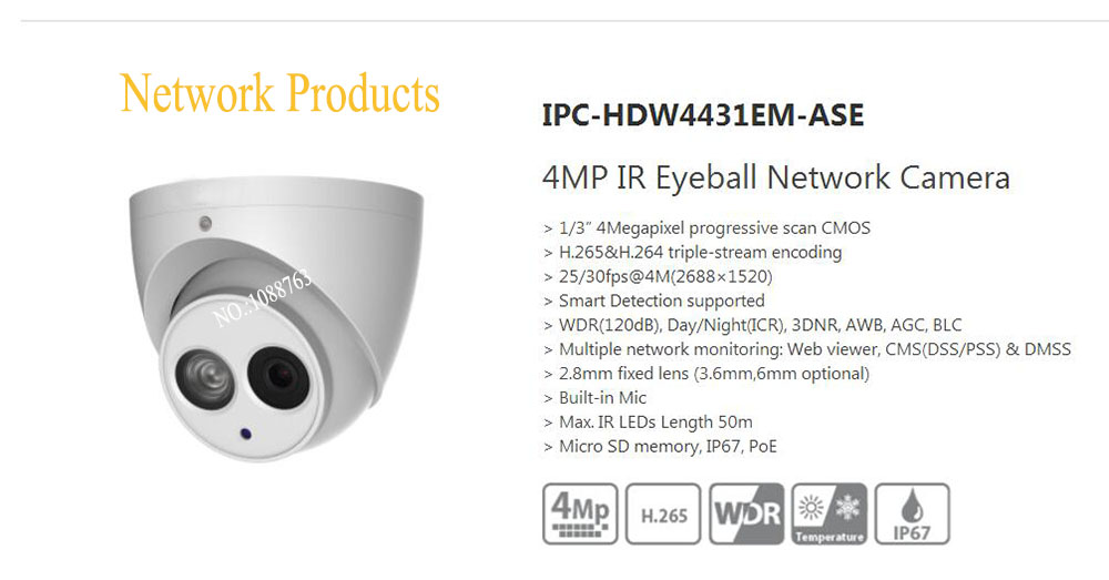 Free Shipping DAHUA Security CCTV Camera 4MP IR Eyeball Network Camera IP67 With POE without Logo IPC-HDW4431EM-ASE free shipping dahua ip camera cctv 6mp wdr ir eyeball network camera with poe ip67 without logo ipc hdw5631r ze