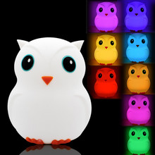 Cartoon Owl LED Night Light Touch Sensor 9 Colors USB Battery Powered Silicone Bird Bedroom Bedside Lamp for Children Kids Baby