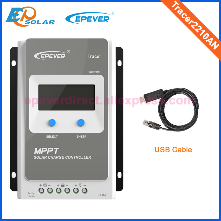 Tracer2210AN 20A solar regulator with USB cable communication solar battery charger 20A MPPT EPEVER EPSolar with white color mt50 remote meter epsolar pwm solar battery charger controller bluetooth function usb cable ls2024b 20a
