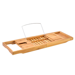 Creative Bamboo Bathtub Tray with Extending Sides Reading Rack Tablet Holder Cellphone Tray and Wine Glass Holder