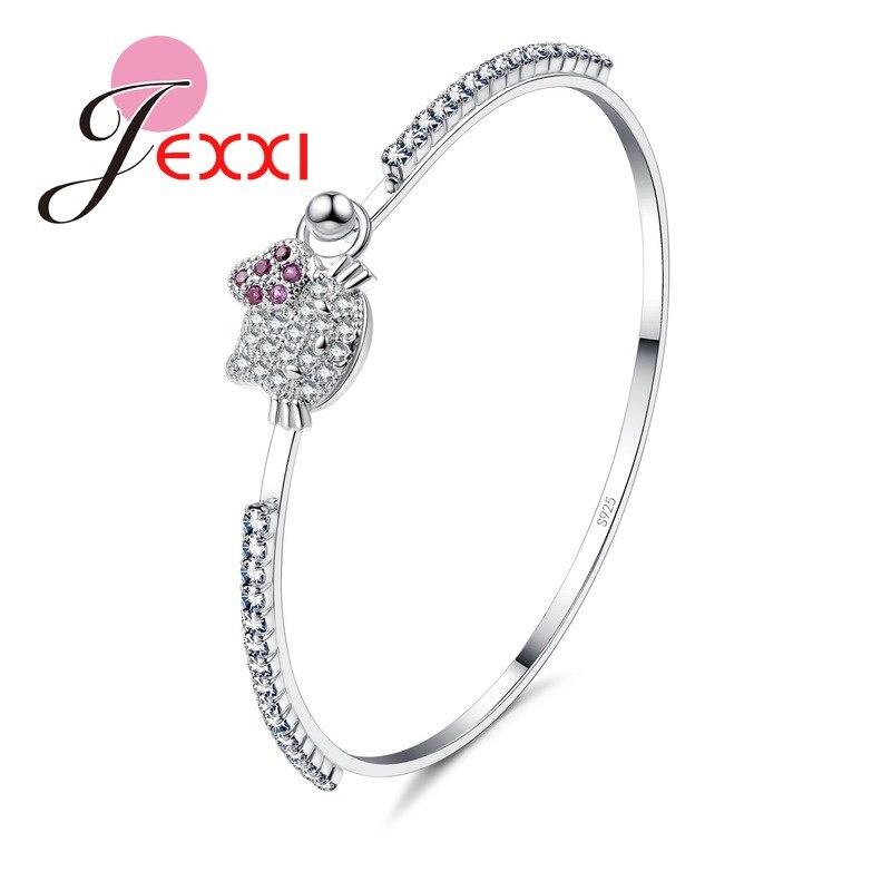 Elegant Cubic Zirconia Pretty  Lovely Bracelet Best Gift For Girls 925 Sterling Silver Fashion Jewelry Wholesale