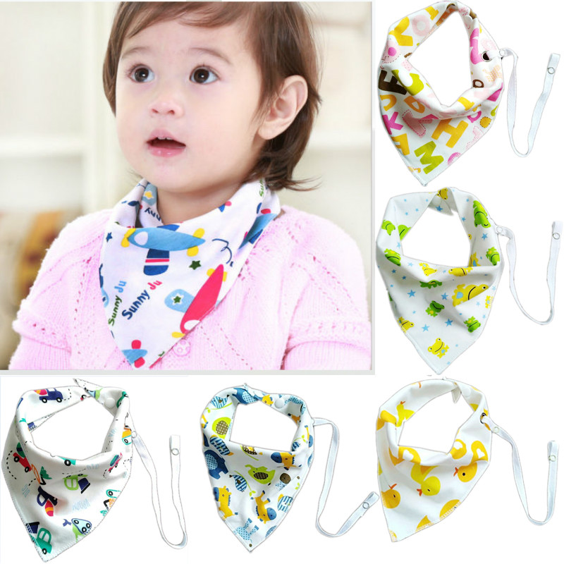 Cute Kids Baby Lunch Feeding Bibs Scarf Towel Boy Girl Bandana Saliva Triangle Dribble Burp Cloths