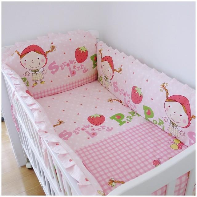 100% algodão roupas de cama de bebê berço cama conjunto de caracteres ( bumpers folha + travesseiro )