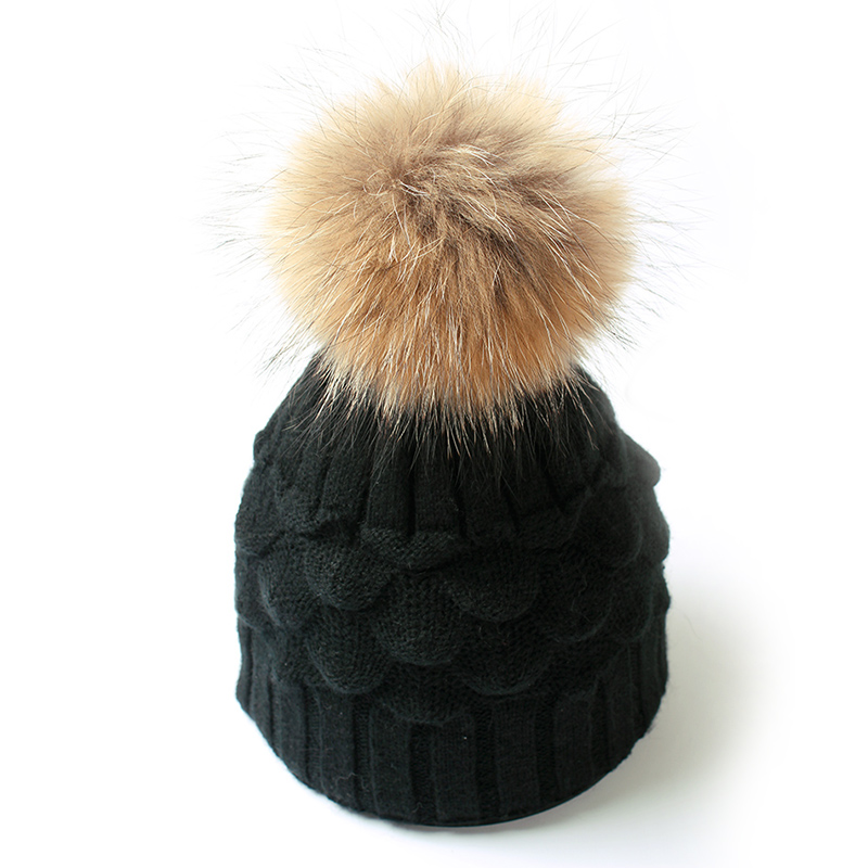 Fashion Women Fur Winter Warm Chunky Thick Wool Knitted Beanies Cap Bobble Ski Pom Poms Hat Gorros Fur Pompom Beanie Caps
