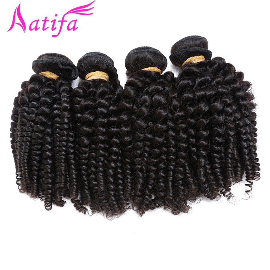 Aatifa 3/4 Bundles Bouncy Curly Hair Funmi Hair Natural Color Brazilian Hair Weave Bundles Remy Hair Extensions 10-28 Inches