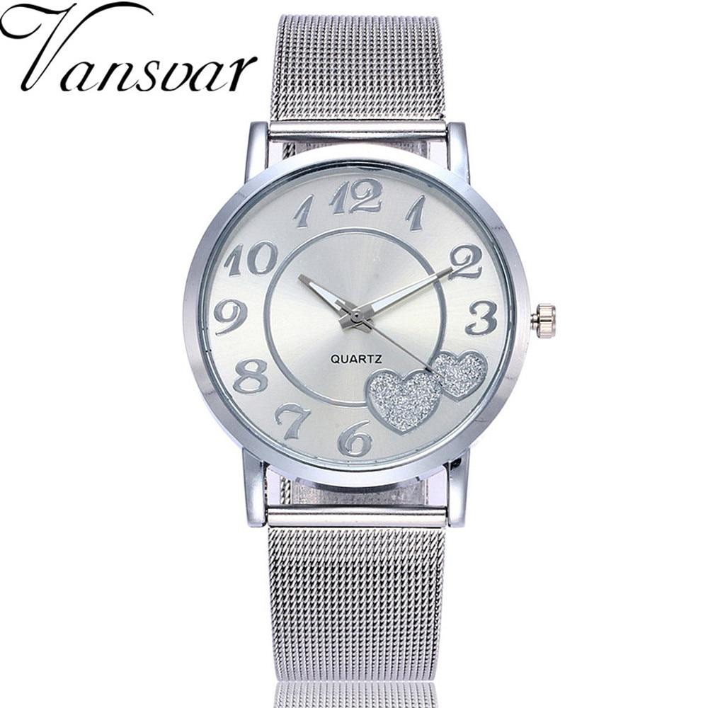Vansvar Women Watches Stainless Steel Zegarki Quartz Wristwatches 2018 New Fashion Classic Simple Style Stainless Steel  B40