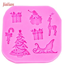 Christmas series Shaped food safe fondant silicone moulds confectionery accessories for chocolate cake decoration tools FT