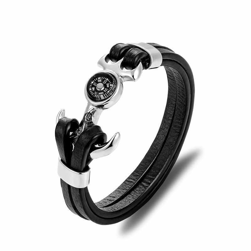 MKENDN 新到着コンパスステンレス鋼アンカーシャックル黒革ブレスレット男性リストバンドサバイバルスポーツファッションジュエリー