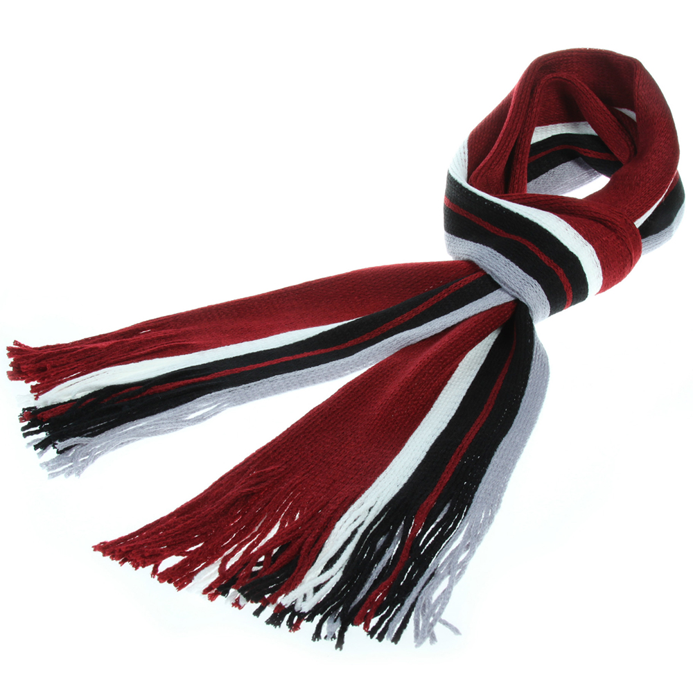 1pc Men's Striped Tassel Scarf Shawl Winter Warm Wool Male Neck Cover Head Wrap
