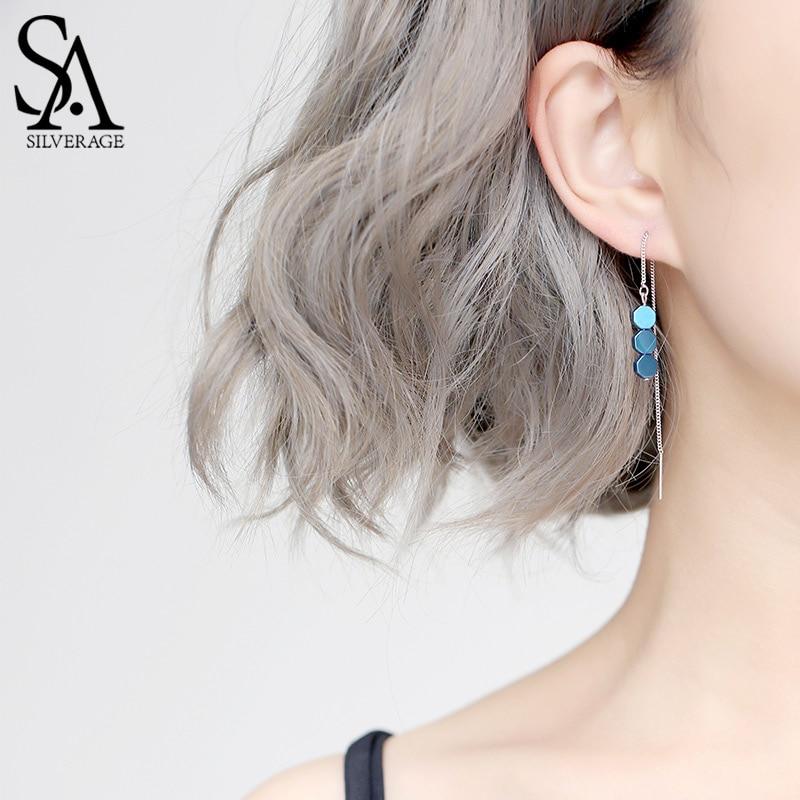 SA SILVERAGE 925 Sterling Silver Green/Blue Color Hexagon Shape Drop Earring for Woman 925 Silver Drop Earrings Jewelry Earring