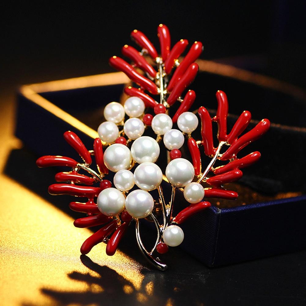 JUJIE 패션 진주 꽃 브로치 여성 브로치 코사지 - 패션 쥬얼리 - 사진 2