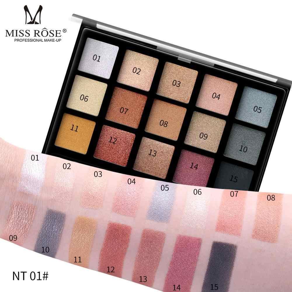 MISS ROSE 15 Kleur Natuur Glow Eyeshadow Palette Draagbare Make-Up Cosmetica Naakt Oogschaduw poeder Waterproof Make-Up Set
