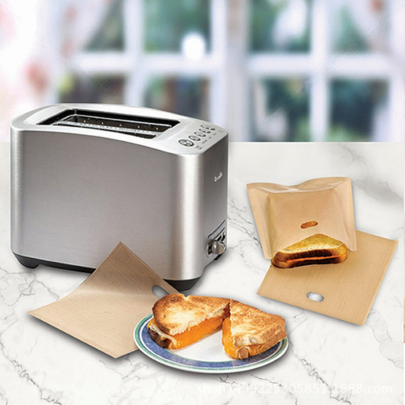 New 2pcs/Lot Reusable Non-stick Baked Toast Bread Bags Toaster Bags for Grilled Cheese Sandwiches Made Easy Home Supplies image