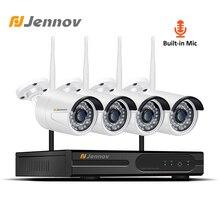 Jennov 4CH видеонаблюдения комплект видеонаблюдения Системы 1080 P NVR WI-FI Беспроводной охранных Камера Системы 2MP P2P IP Камера аудио Системы